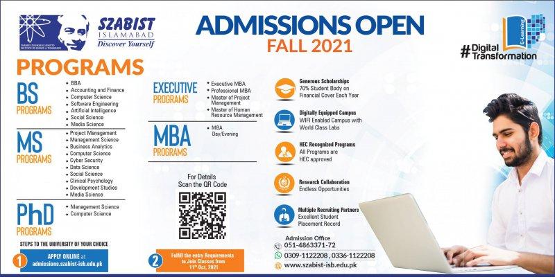SZABIST Admissions Ad Fall 2021